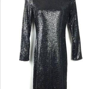 White House Black Market Dresses - WHBM Long Sleeve v neck/ back sequin sheath dress